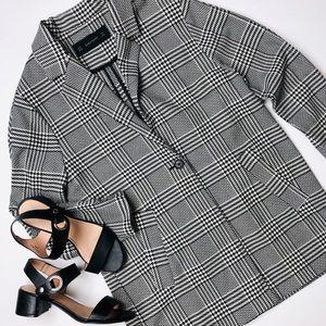 Zara Black Houndstooth Longline Blazer Jacket